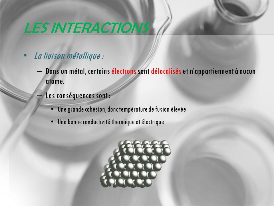 LES INTERACTIONS La liaison métallique : – Dans un métal, certains électrons sont délocalisés et nappartiennent à aucun atome. – Les conséquences sont