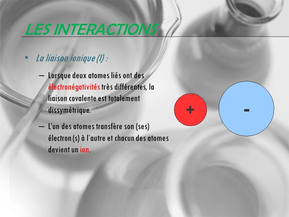 LES INTERACTIONS La liaison ionique (I) : – Lorsque deux atomes liés ont des électronégativités très différentes, la liaison covalente est totalement