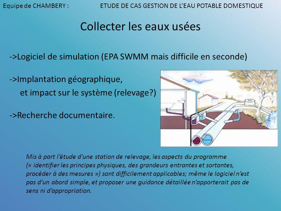 Collecter les eaux usées ->Logiciel de simulation (EPA SWMM mais difficile en seconde) ->Implantation géographique, et impact sur le système (relevage