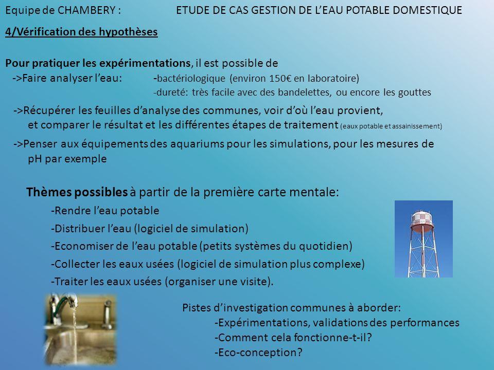 Thèmes possibles à partir de la première carte mentale: -Rendre leau potable -Distribuer leau (logiciel de simulation) -Economiser de leau potable (pe