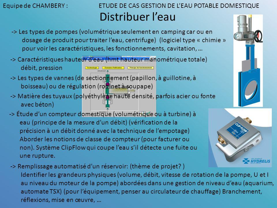 Distribuer leau -> Les types de pompes (volumétrique seulement en camping car ou en dosage de produit pour traiter leau, centrifuge) (logiciel type «