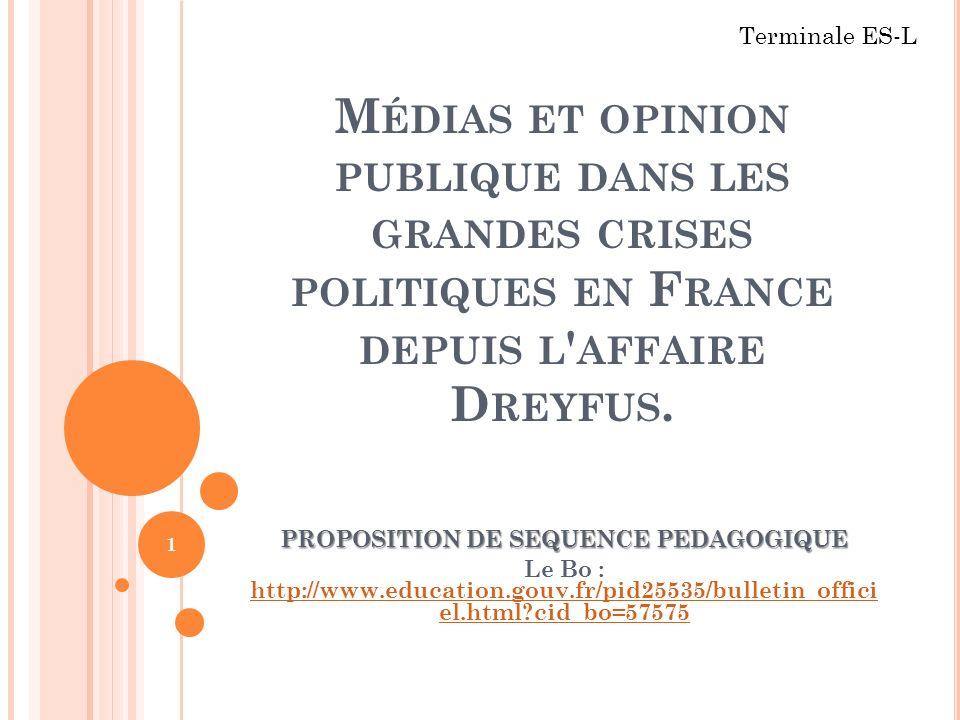 M ÉDIAS ET OPINION PUBLIQUE DANS LES GRANDES CRISES POLITIQUES EN F RANCE DEPUIS L ' AFFAIRE D REYFUS. PROPOSITION DE SEQUENCE PEDAGOGIQUE Le Bo : htt