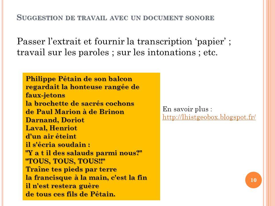 S UGGESTION DE TRAVAIL AVEC UN DOCUMENT SONORE Passer lextrait et fournir la transcription papier ; travail sur les paroles ; sur les intonations ; et