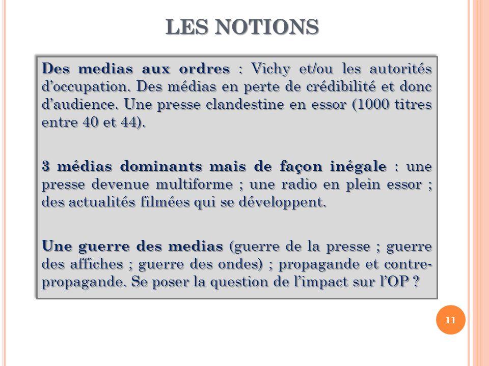 LES NOTIONS Des medias aux ordres : Vichy et/ou les autorités doccupation. Des médias en perte de crédibilité et donc daudience. Une presse clandestin