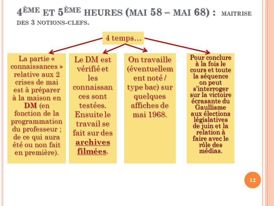 4 ÈME ET 5 ÈME HEURES ( MAI 58 – MAI 68) : MAITRISE DES 3 NOTIONS - CLEFS. 4 temps… La partie « connaissances » relative aux 2 crises de mai est à pré
