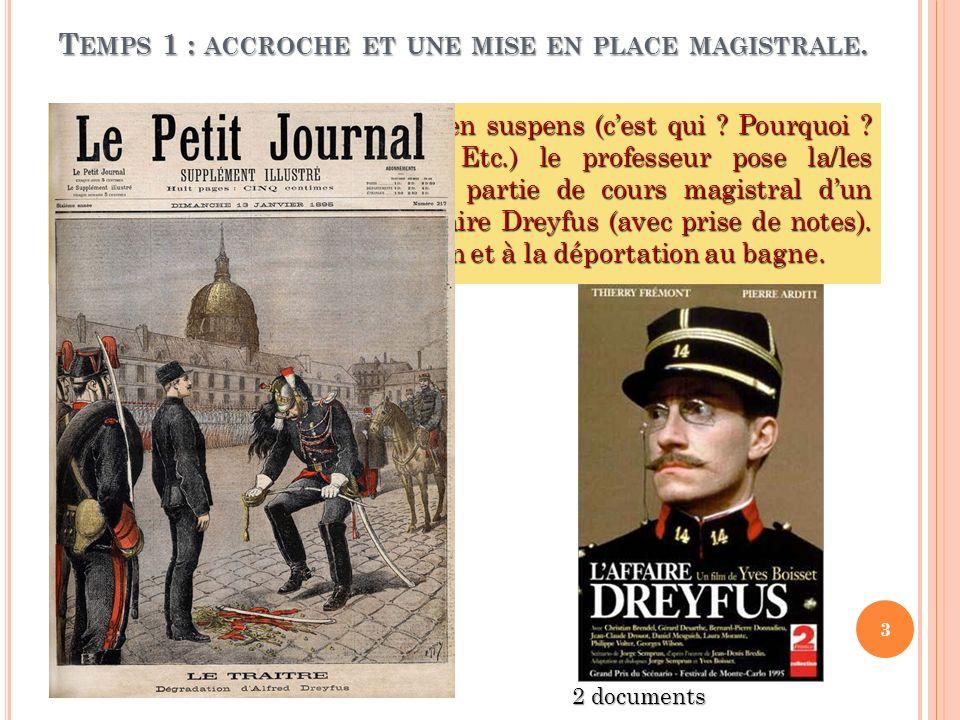 T EMPS 2 : UN TRAVAIL SUR LA PRESSE Synthèse sur le rôle de la presse et des intellectuels dans laffaire Dreyfus.