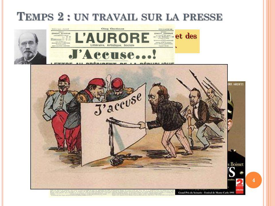 T EMPS 2 : UN TRAVAIL SUR LA PRESSE Synthèse sur le rôle de la presse et des intellectuels dans laffaire Dreyfus. 4