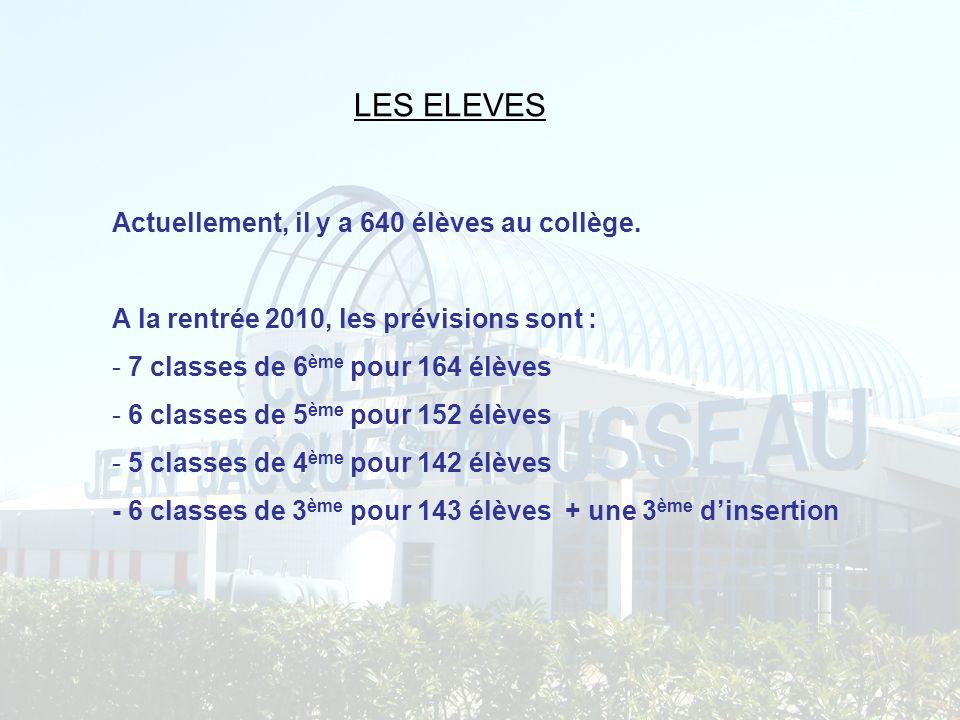 LES ELEVES Actuellement, il y a 640 élèves au collège. A la rentrée 2010, les prévisions sont : - 7 classes de 6 ème pour 164 élèves - 6 classes de 5