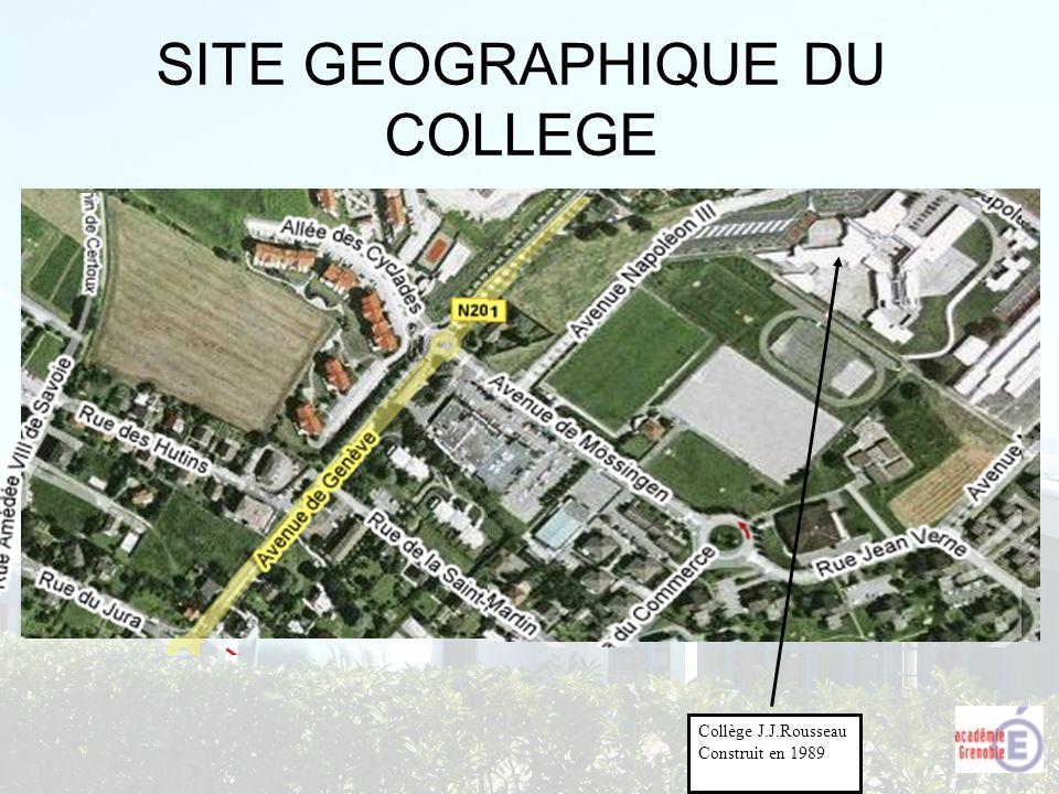 SITE GEOGRAPHIQUE DU COLLEGE Collège J.J.Rousseau Construit en 1989