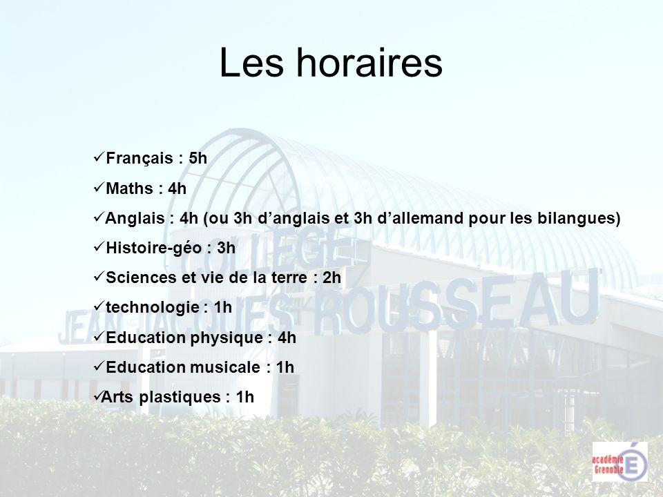 Les horaires Français : 5h Maths : 4h Anglais : 4h (ou 3h danglais et 3h dallemand pour les bilangues) Histoire-géo : 3h Sciences et vie de la terre :