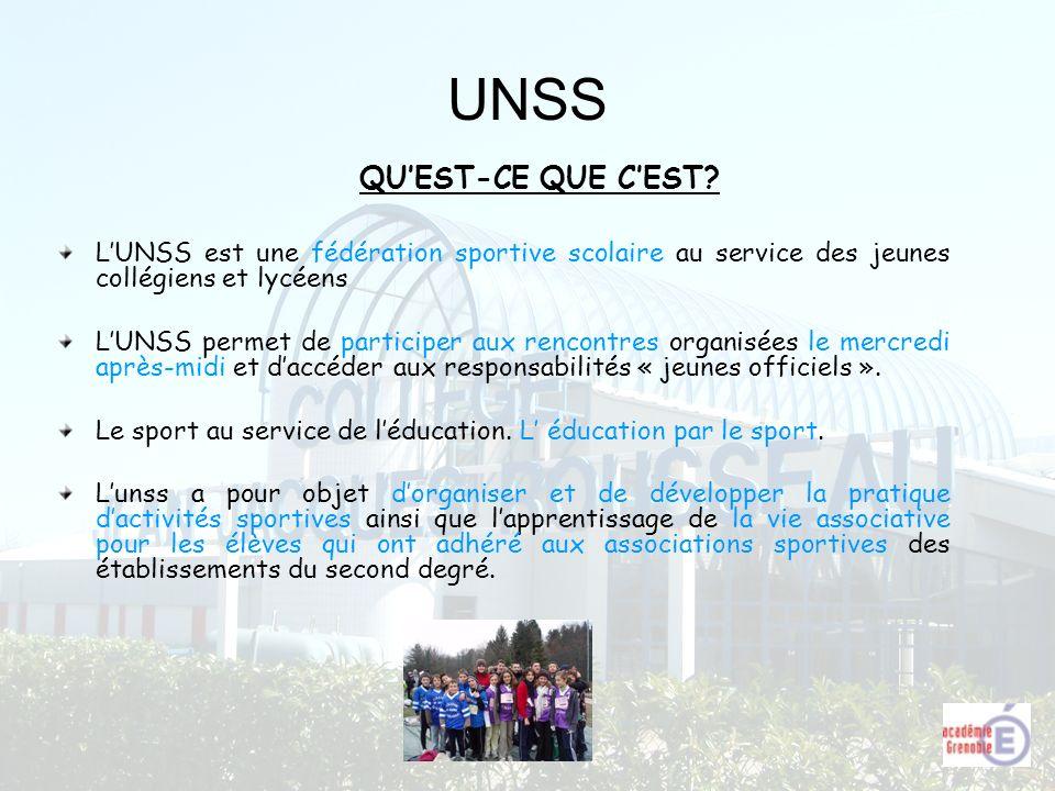 UNSS LUNSS est une fédération sportive scolaire au service des jeunes collégiens et lycéens LUNSS permet de participer aux rencontres organisées le me