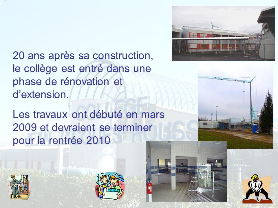 20 ans après sa construction, le collège est entré dans une phase de rénovation et dextension. Les travaux ont débuté en mars 2009 et devraient se ter