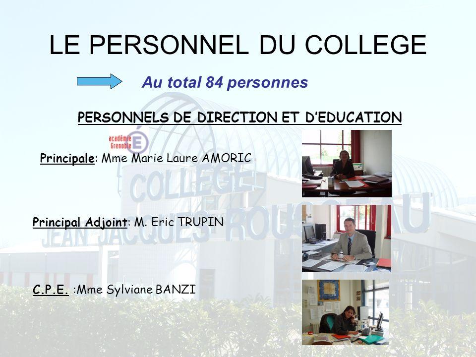 LE PERSONNEL DU COLLEGE PERSONNELS DE DIRECTION ET DEDUCATION C.P.E. :Mme Sylviane BANZI Principale: Mme Marie Laure AMORIC Principal Adjoint: M. Eric