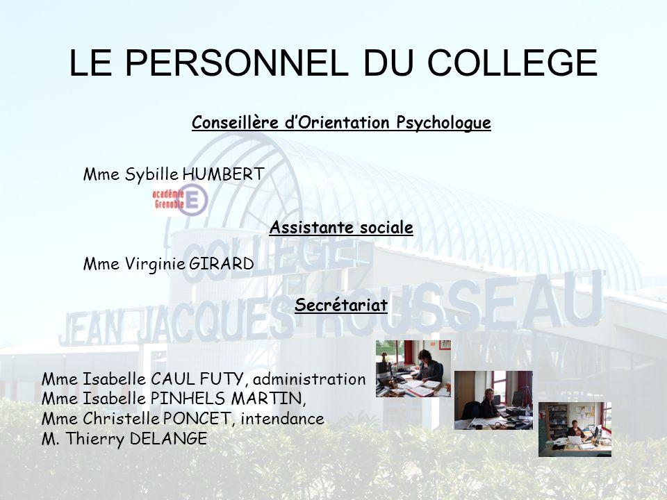 LE PERSONNEL DU COLLEGE Mme Isabelle CAUL FUTY, administration Mme Isabelle PINHELS MARTIN, Mme Christelle PONCET, intendance M. Thierry DELANGE Conse