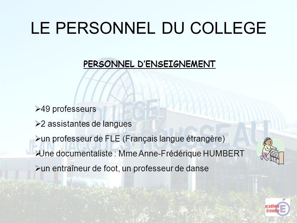 LE PERSONNEL DU COLLEGE PERSONNEL DENSEIGNEMENT 49 professeurs 2 assistantes de langues un professeur de FLE (Français langue étrangère) Une documenta