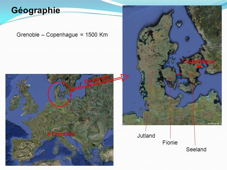 Grenoble Danemark Géographie Grenoble – Copenhague = 1500 Km Copenhague Jutland Fionie Seeland
