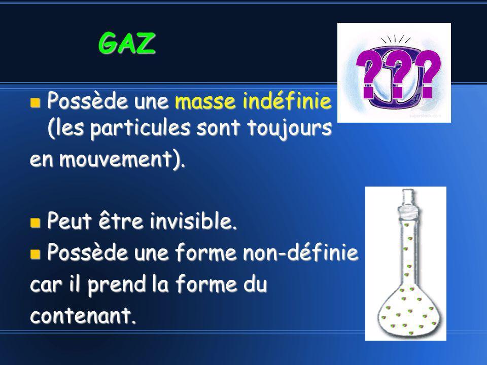 Possède une masse indéfinie (les particules sont toujours Possède une masse indéfinie (les particules sont toujours en mouvement). Peut être invisible