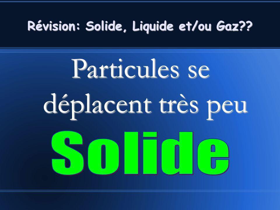 Particules se déplacent très peu Révision: Solide, Liquide et/ou Gaz??