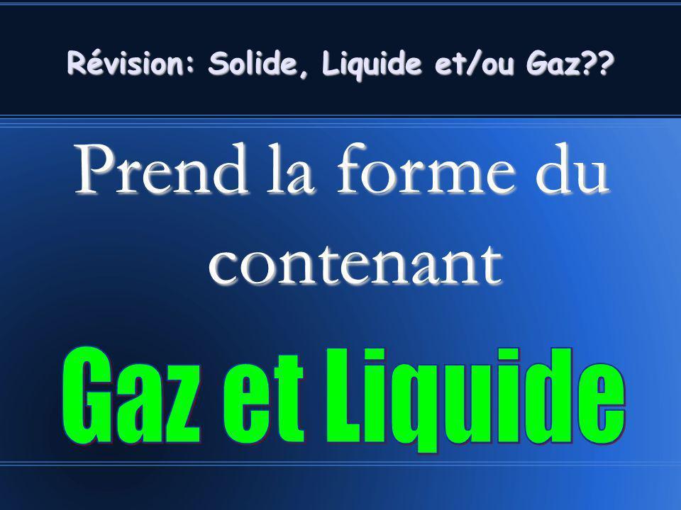 Prend la forme du contenant Révision: Solide, Liquide et/ou Gaz??