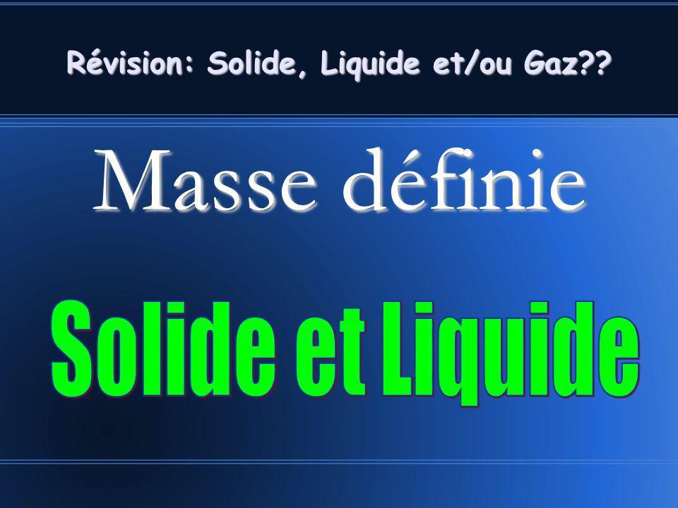 Masse définie Révision: Solide, Liquide et/ou Gaz??