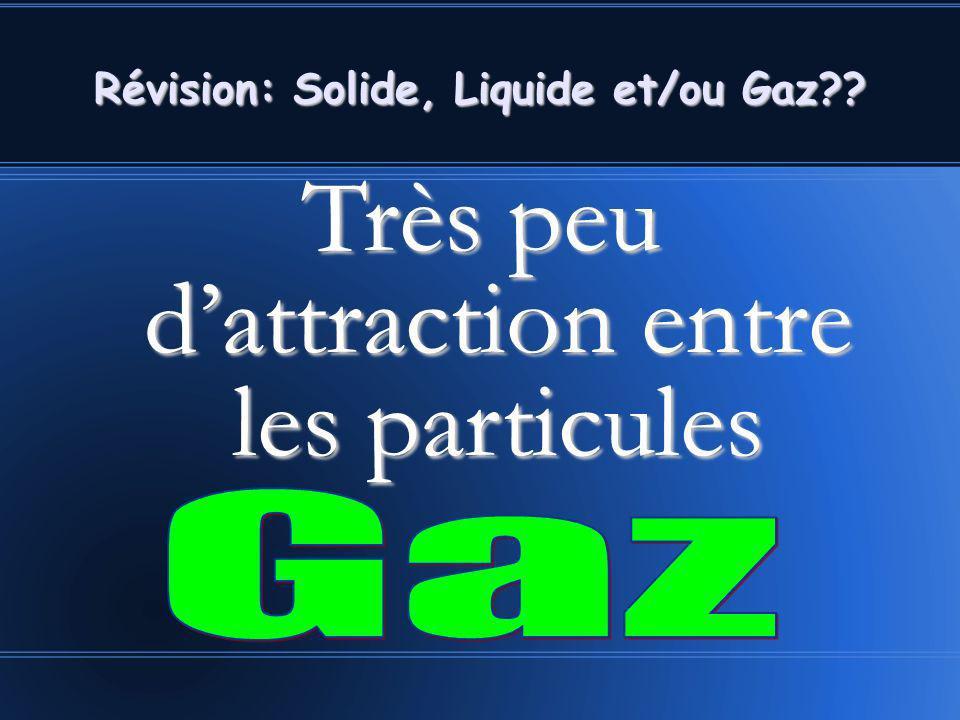 Très peu dattraction entre les particules Révision: Solide, Liquide et/ou Gaz??