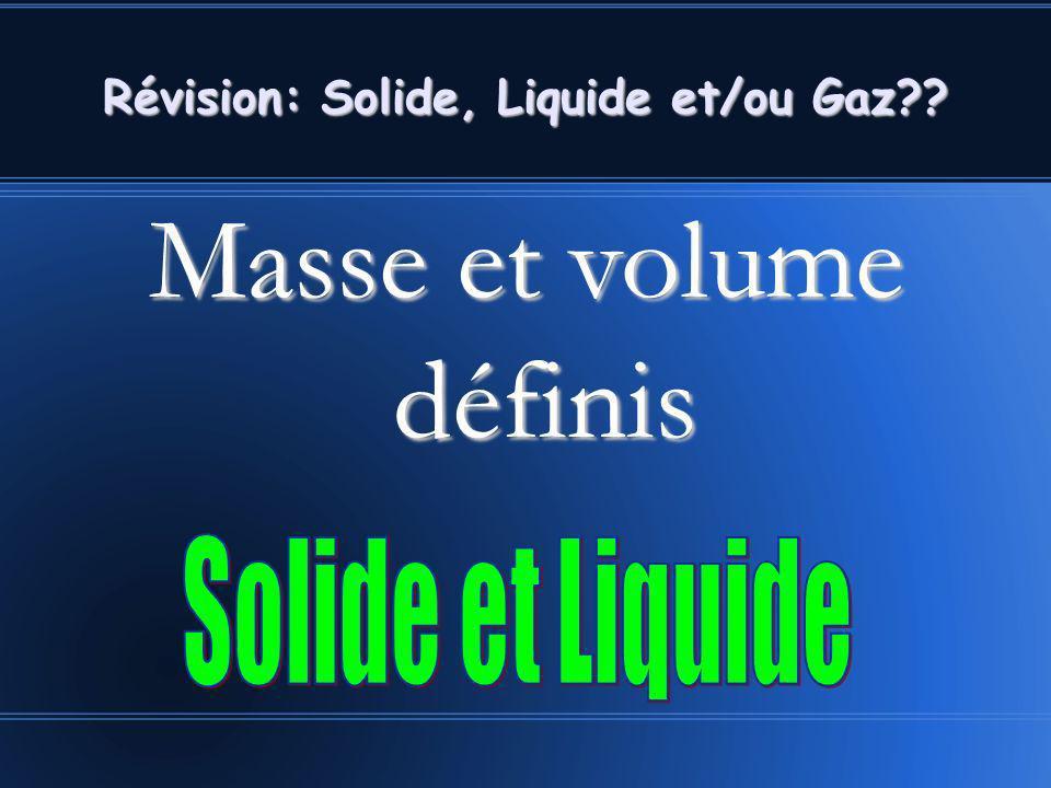 Masse et volume définis Révision: Solide, Liquide et/ou Gaz??