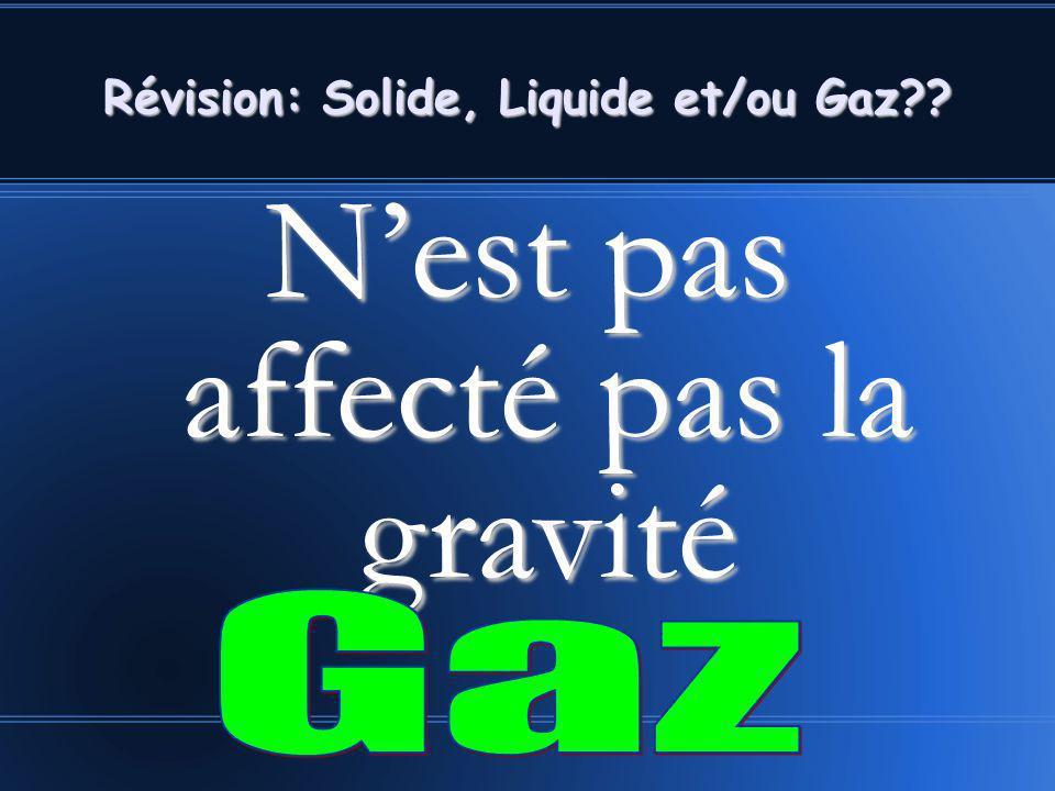 Nest pas affecté pas la gravité Révision: Solide, Liquide et/ou Gaz??