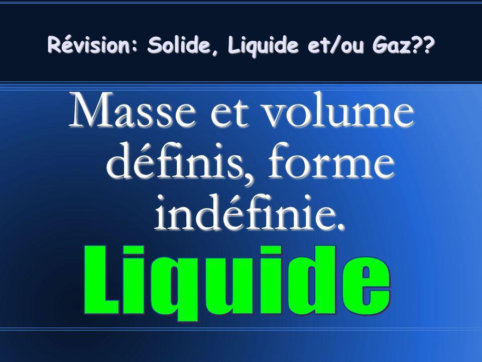 Masse et volume définis, forme indéfinie. Révision: Solide, Liquide et/ou Gaz??