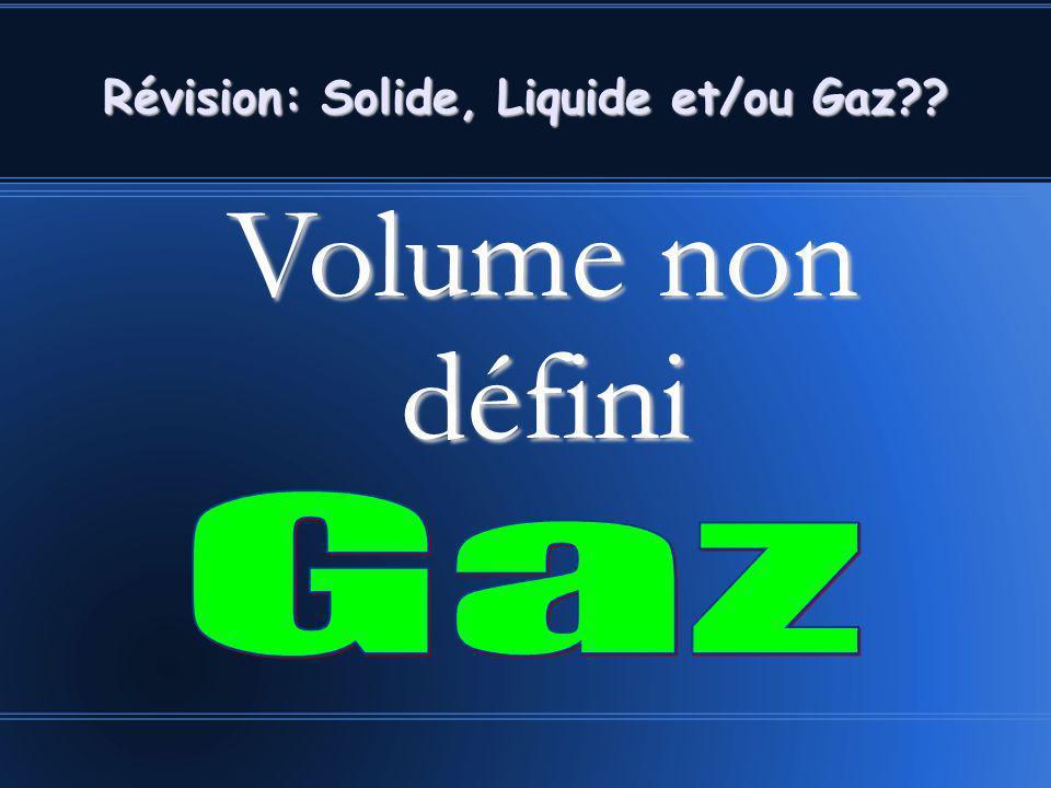 Volume non défini Volume non défini Révision: Solide, Liquide et/ou Gaz??