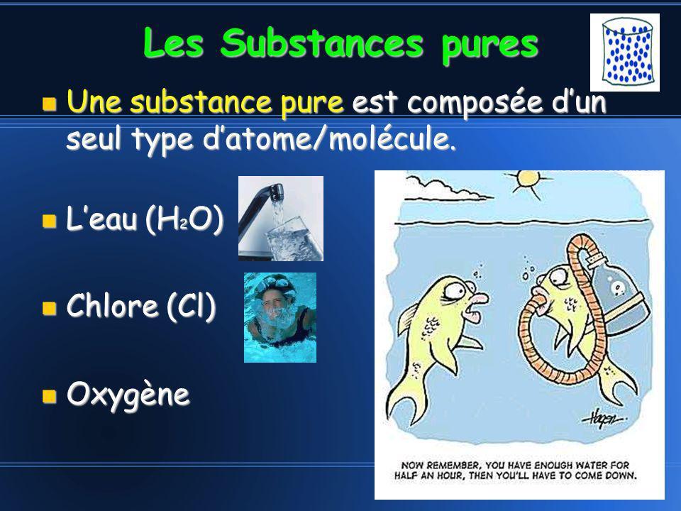 Les Substances pures Une substance pure est composée dun seul type datome/molécule. Une substance pure est composée dun seul type datome/molécule. Lea