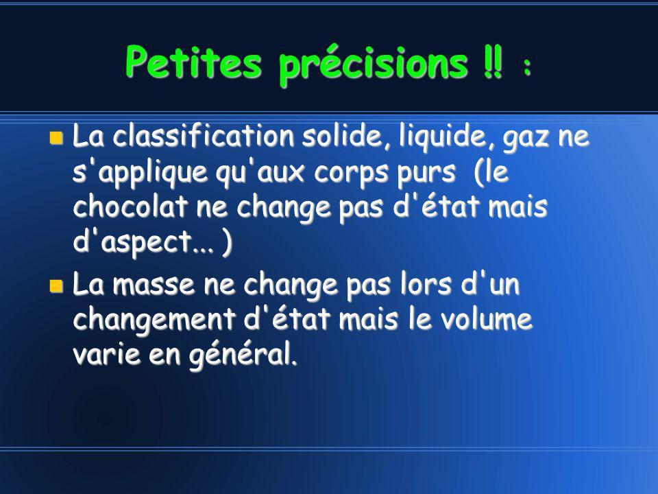 Petites précisions !! : La classification solide, liquide, gaz ne s'applique qu'aux corps purs (le chocolat ne change pas d'état mais d'aspect... ) La