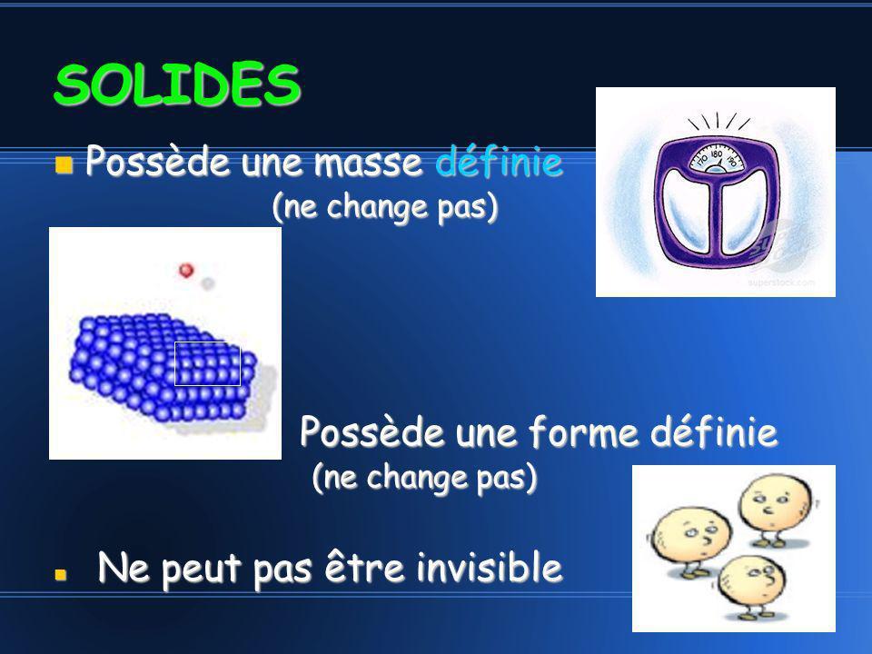 Possède une masse définie (ne change pas) Possède une masse définie (ne change pas) Possède une forme définie (ne change pas) Ne peut pas être invisible Ne peut pas être invisible SOLIDES