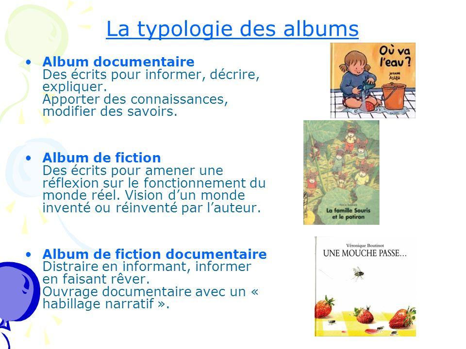 La typologie des albums Album documentaire Des écrits pour informer, décrire, expliquer. Apporter des connaissances, modifier des savoirs. Album de fi