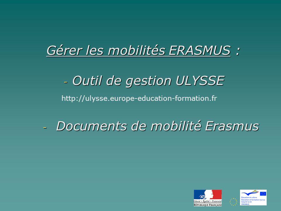Gérer les mobilités ERASMUS : - Outil de gestion ULYSSE - Documents de mobilité Erasmus http://ulysse.europe-education-formation.fr