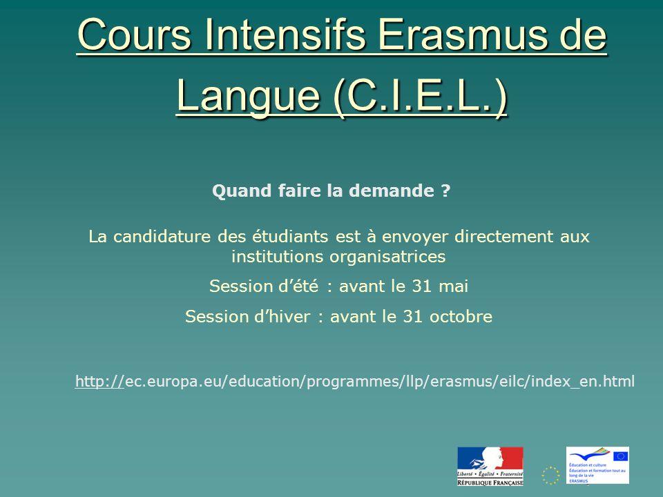 Cours Intensifs Erasmus de Langue (C.I.E.L.) Quand faire la demande .
