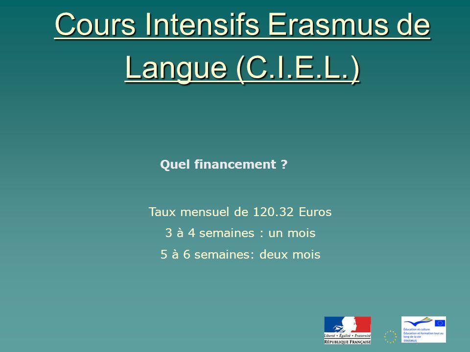 Cours Intensifs Erasmus de Langue (C.I.E.L.) Quel financement .