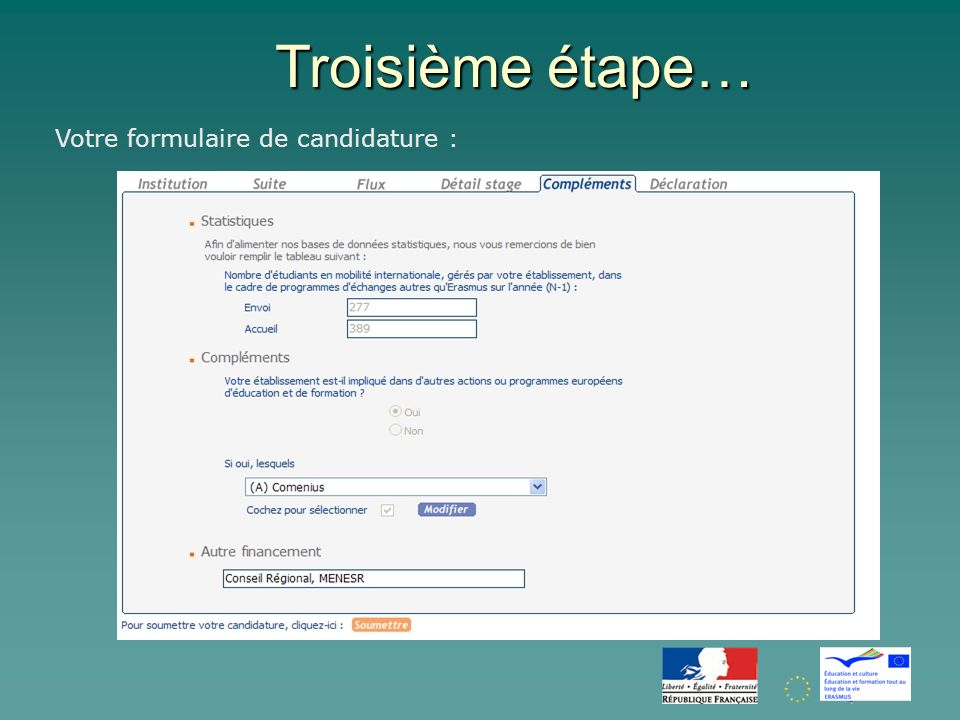 Troisième étape… Votre formulaire de candidature :