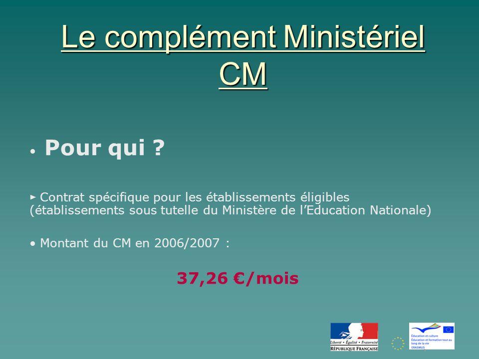 Le complément Ministériel CM Pour qui .
