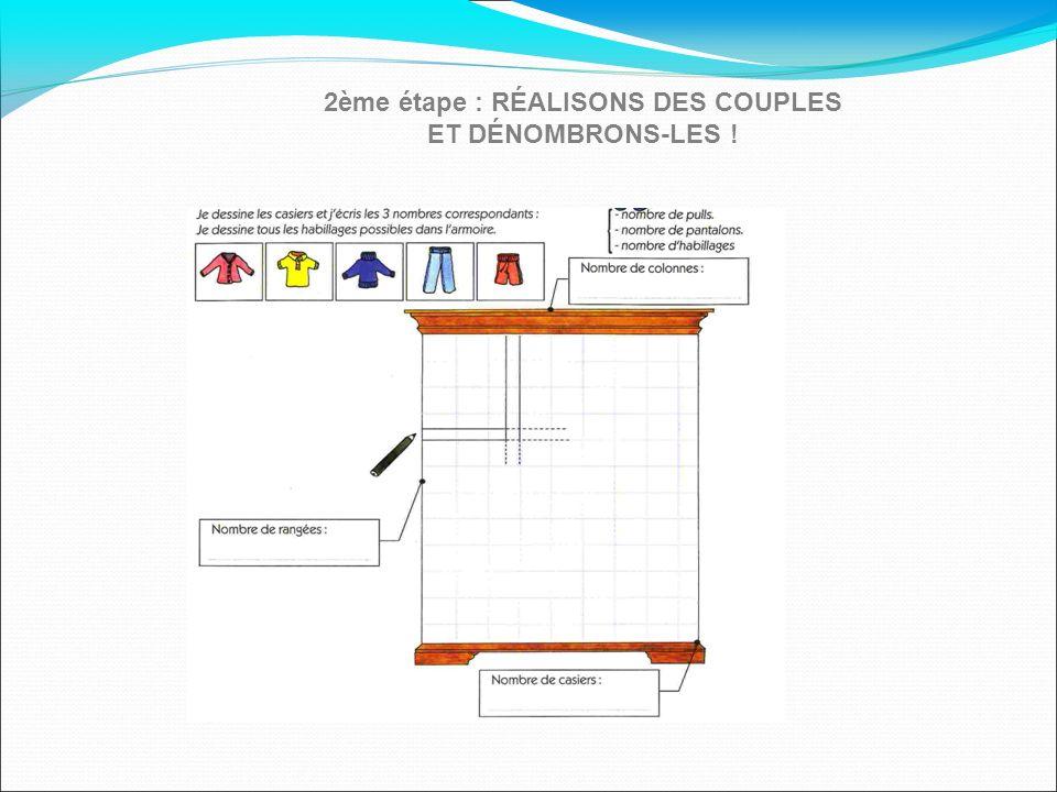 2ème étape : RÉALISONS DES COUPLES ET DÉNOMBRONS-LES !
