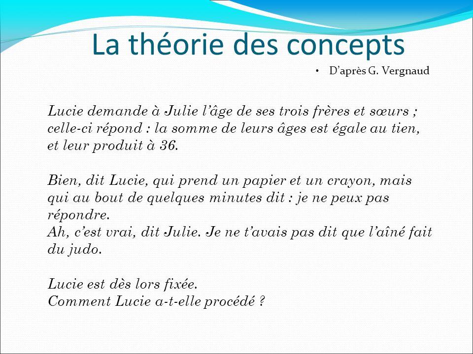 La théorie des concepts Daprès G. Vergnaud Lucie demande à Julie lâge de ses trois frères et sœurs ; celle-ci répond : la somme de leurs âges est égal