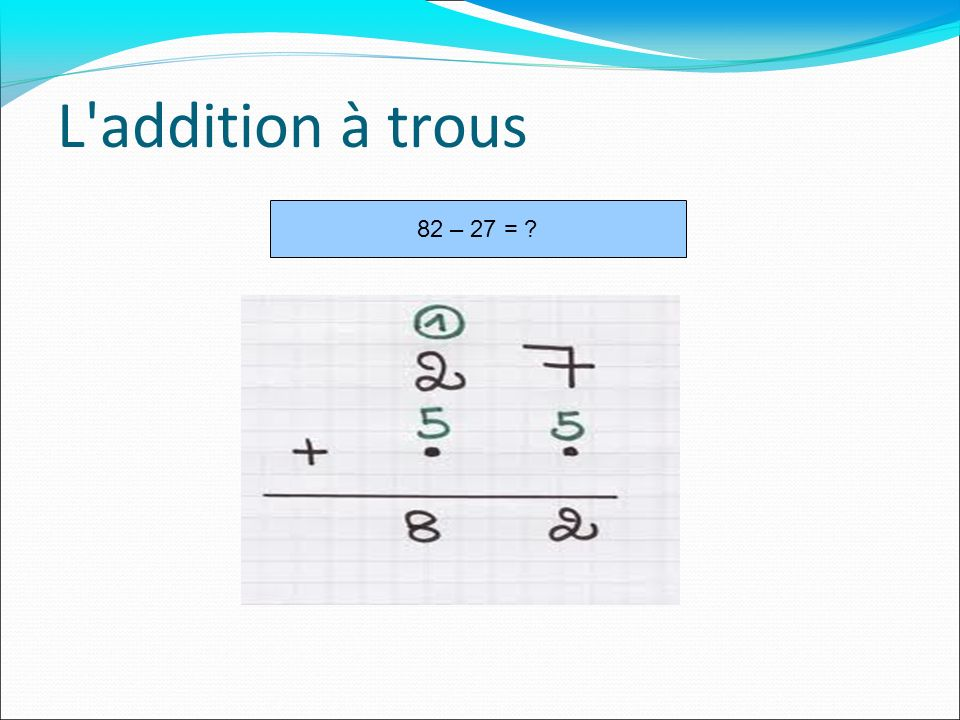 L'addition à trous 82 – 27 = ?