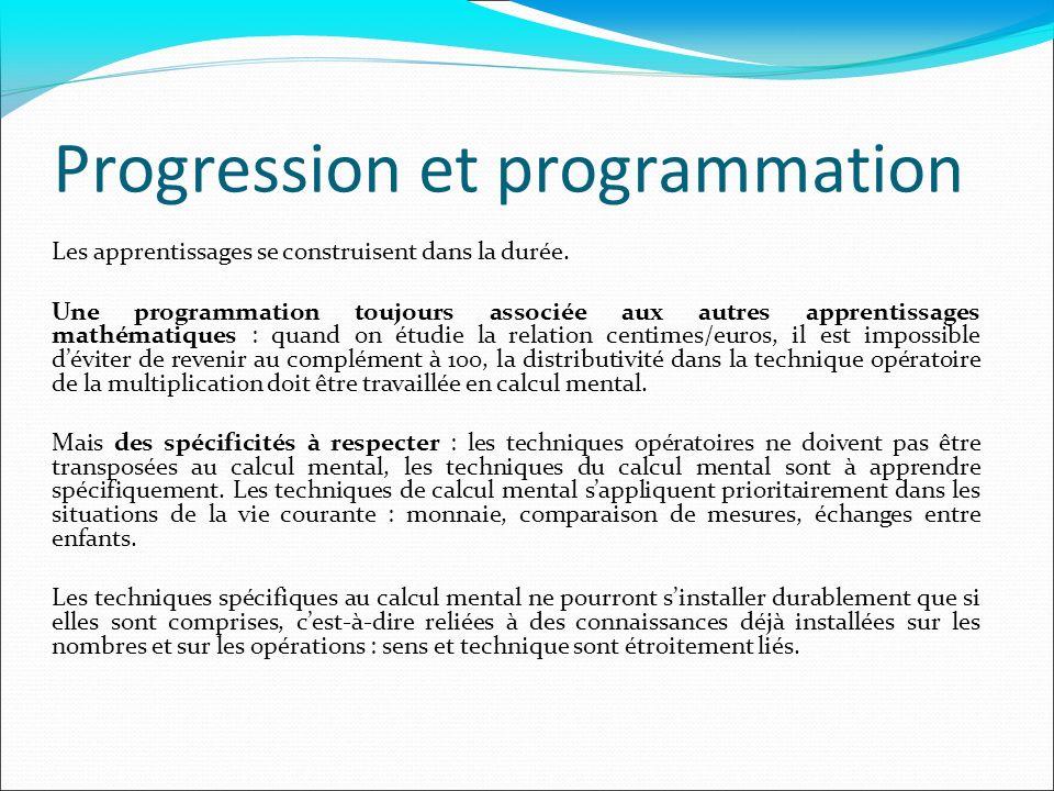 Progression et programmation Les apprentissages se construisent dans la durée. Une programmation toujours associée aux autres apprentissages mathémati