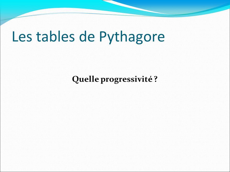 Les tables de Pythagore Quelle progressivité ?