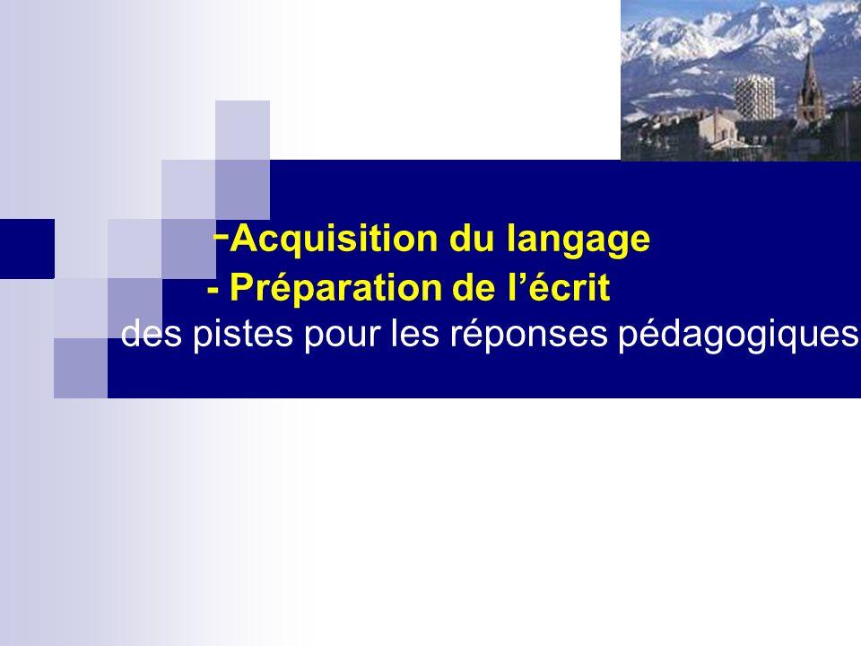 - Acquisition du langage - Préparation de lécrit des pistes pour les réponses pédagogiques