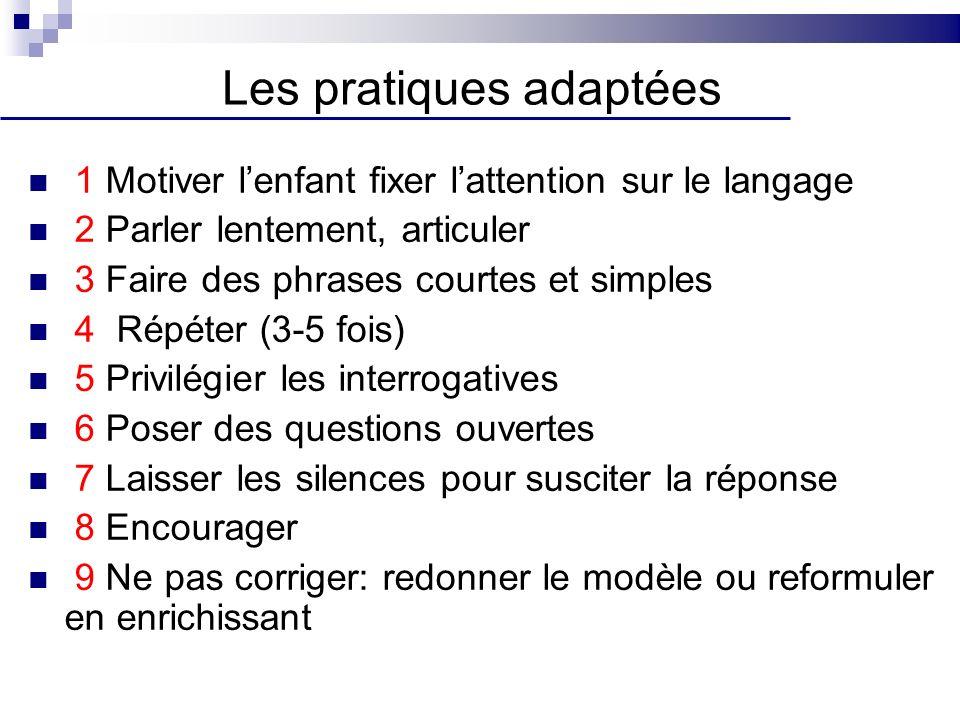 1 Motiver lenfant fixer lattention sur le langage 2 Parler lentement, articuler 3 Faire des phrases courtes et simples 4 Répéter (3-5 fois) 5 Privilég