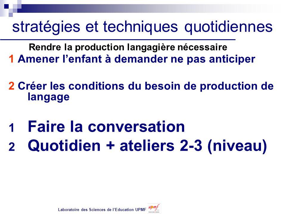 1 Amener lenfant à demander ne pas anticiper 2 Créer les conditions du besoin de production de langage 1 Faire la conversation 2 Quotidien + ateliers