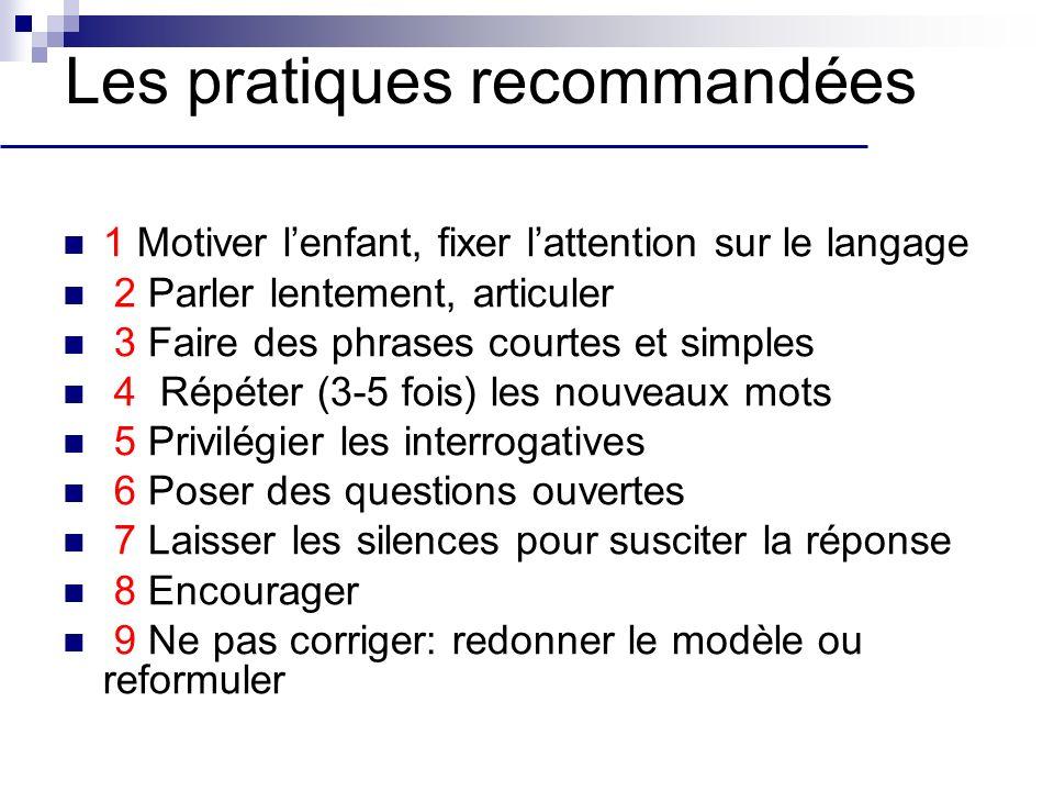 Les pratiques recommandées 1 Motiver lenfant, fixer lattention sur le langage 2 Parler lentement, articuler 3 Faire des phrases courtes et simples 4 R
