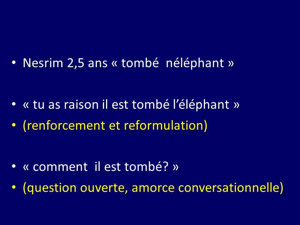 Nesrim 2,5 ans « tombé néléphant » « tu as raison il est tombé léléphant » (renforcement et reformulation) « comment il est tombé? » (question ouverte