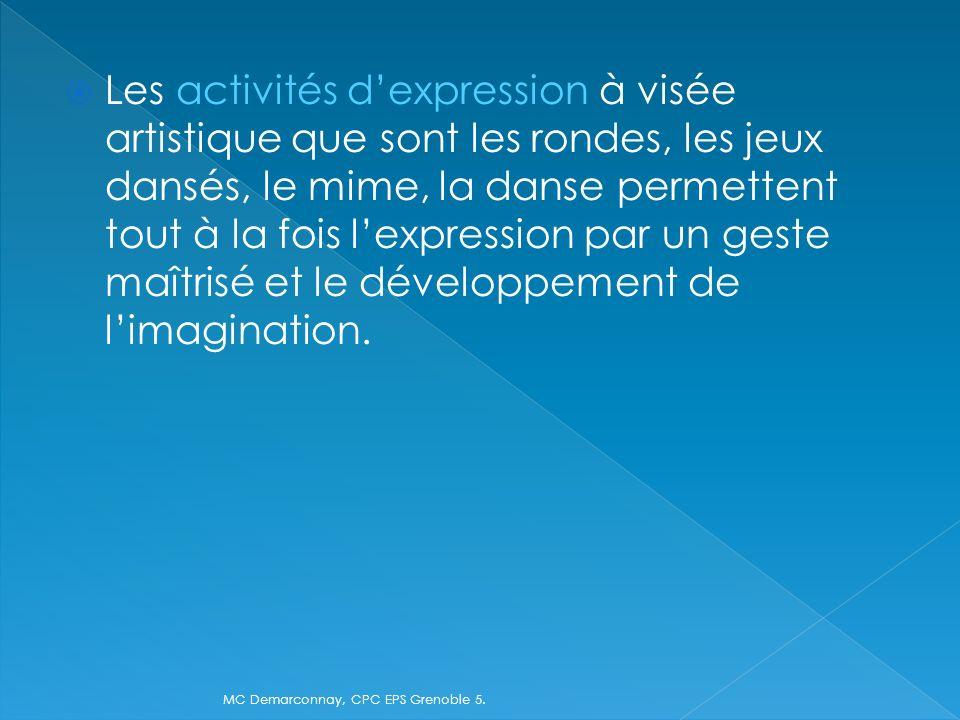 Les activités dexpression à visée artistique que sont les rondes, les jeux dansés, le mime, la danse permettent tout à la fois lexpression par un gest
