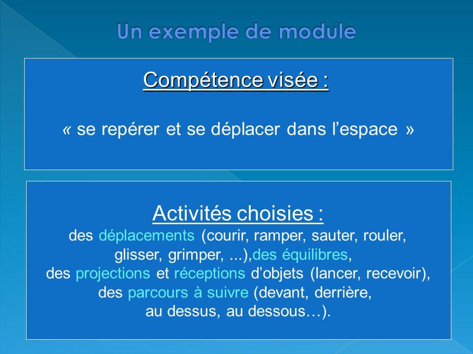 Compétence visée : « se repérer et se déplacer dans lespace » Activités choisies : des déplacements (courir, ramper, sauter, rouler, glisser, grimper,